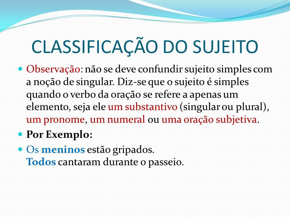 CLASSIFICAÇÃO DO SUJEITO b) Composto Apresenta dois ou mais núcleos ligados diretamente ao verbo.
