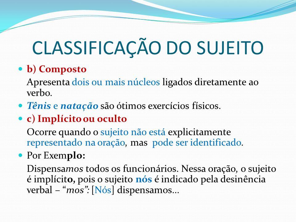 CLASSIFICAÇÃO DO SUJEITO 2 - Sujeito Indeterminado: é aquele que, embora existindo, não se pode determinar nem pelo contexto, nem pela terminação do verbo.