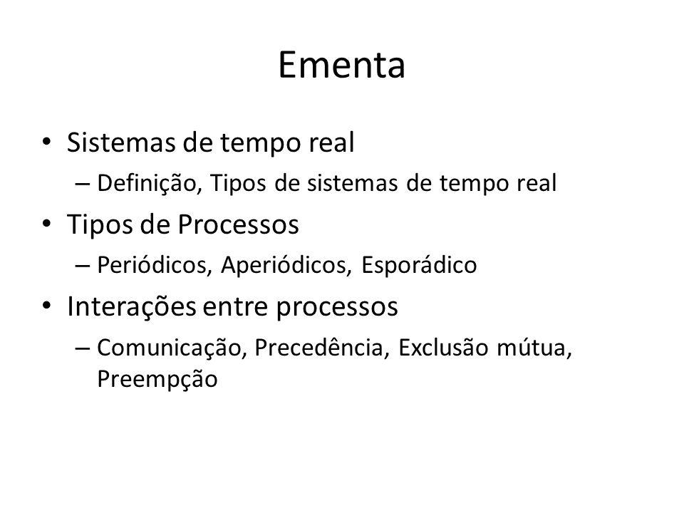 Ementa Sistemas de tempo real – Definição, Tipos de sistemas de tempo real Tipos de Processos – Periódicos, Aperiódicos, Esporádico Interações entre processos – Comunicação, Precedência, Exclusão mútua, Preempção
