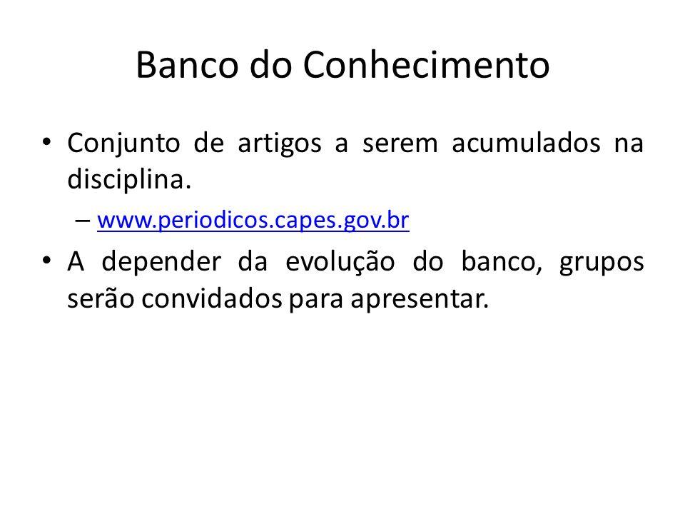 Banco do Conhecimento Conjunto de artigos a serem acumulados na disciplina.