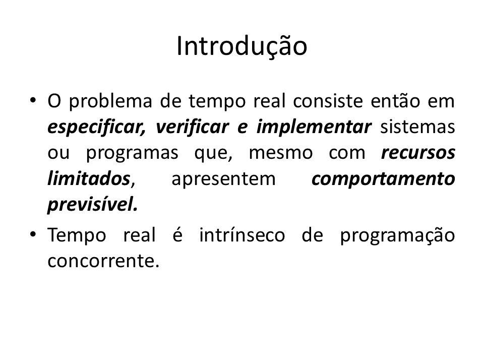Introdução O problema de tempo real consiste então em especificar, verificar e implementar sistemas ou programas que, mesmo com recursos limitados, ap
