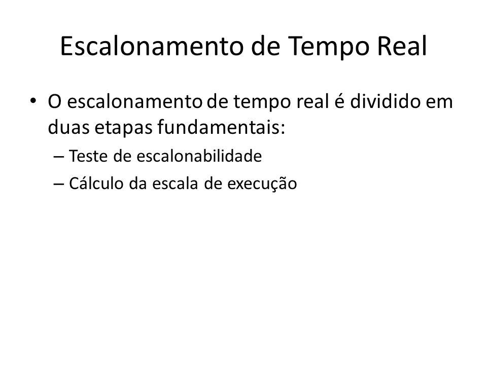 Escalonamento de Tempo Real O escalonamento de tempo real é dividido em duas etapas fundamentais: – Teste de escalonabilidade – Cálculo da escala de e