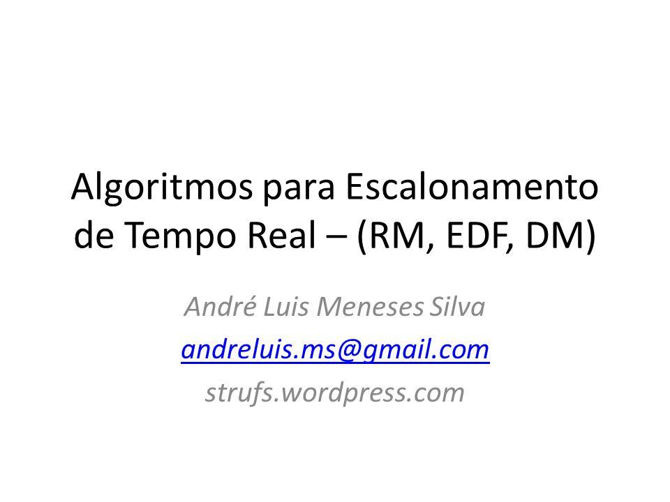 Algoritmos para Escalonamento de Tempo Real – (RM, EDF, DM) André Luis Meneses Silva andreluis.ms@gmail.com strufs.wordpress.com