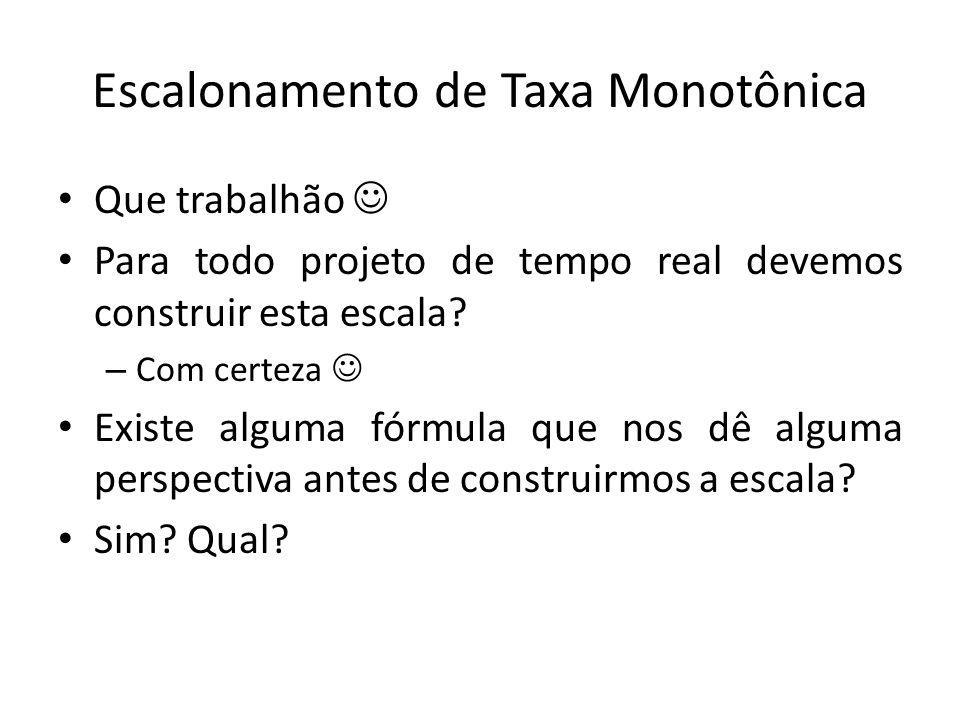 Escalonamento de Taxa Monotônica Que trabalhão Para todo projeto de tempo real devemos construir esta escala? – Com certeza Existe alguma fórmula que