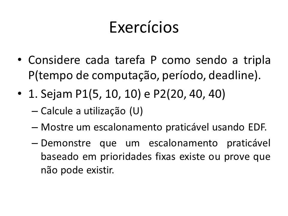 Exercícios Considere cada tarefa P como sendo a tripla P(tempo de computação, período, deadline). 1. Sejam P1(5, 10, 10) e P2(20, 40, 40) – Calcule a