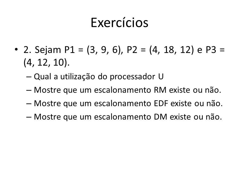 Exercícios 2. Sejam P1 = (3, 9, 6), P2 = (4, 18, 12) e P3 = (4, 12, 10). – Qual a utilização do processador U – Mostre que um escalonamento RM existe