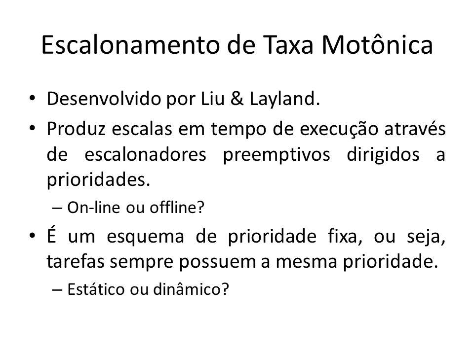 Escalonamento de Taxa Monotônica O algoritmo RM trabalha sobre um modelo de tarefas bastante simples, que obedece às seguintes premissas: – As tarefas são periódicas e independentes.