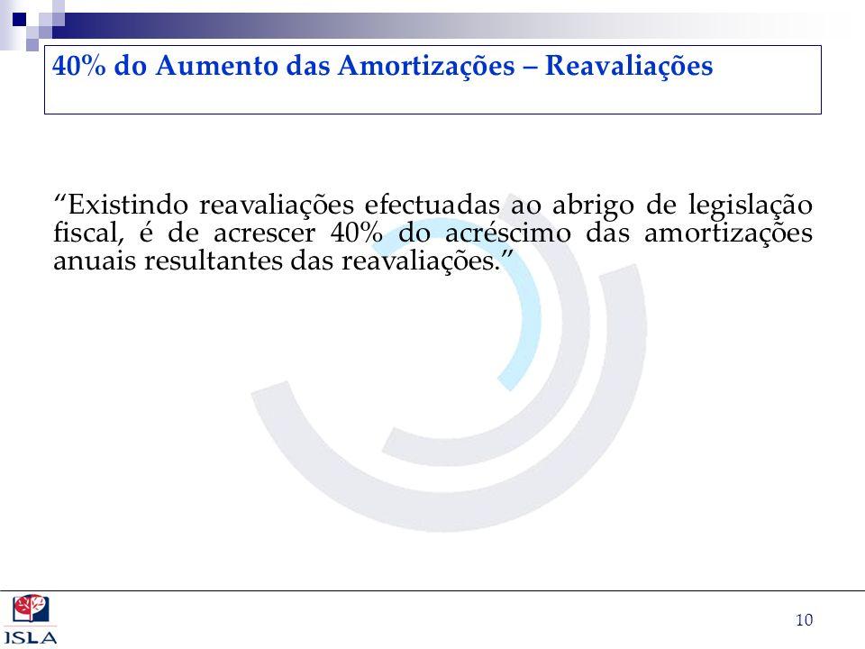 10 40% do Aumento das Amortizações – Reavaliações Existindo reavaliações efectuadas ao abrigo de legislação fiscal, é de acrescer 40% do acréscimo das