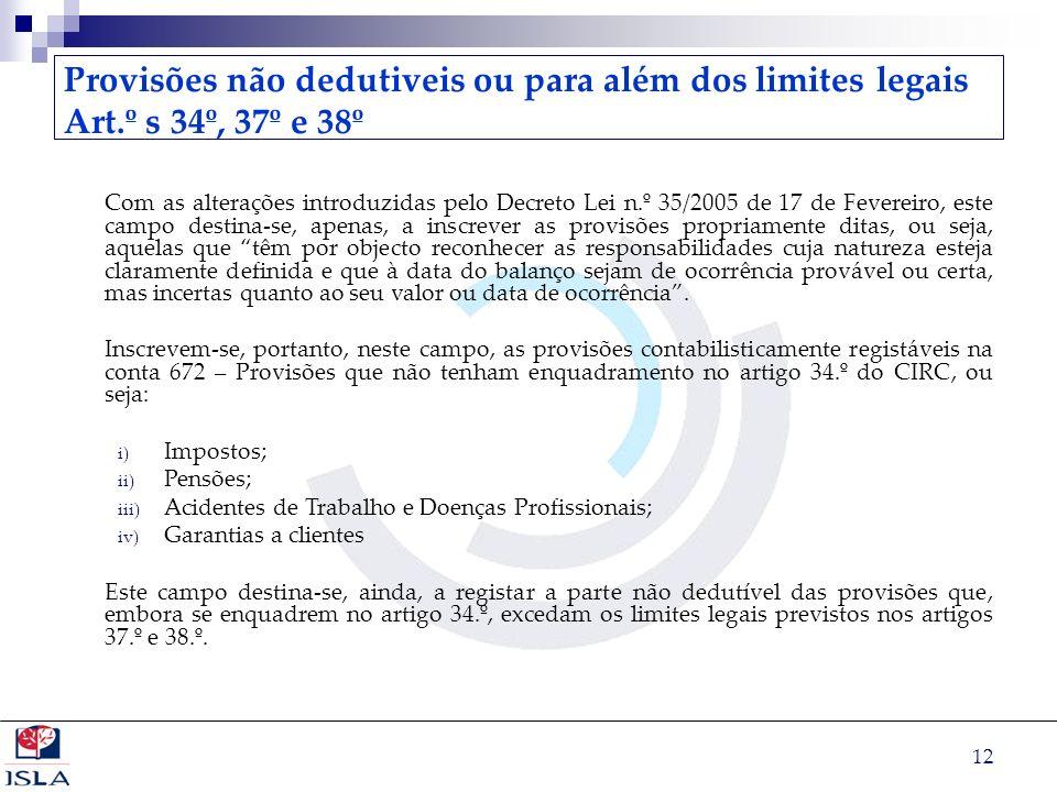 12 Provisões não dedutiveis ou para além dos limites legais Art.º s 34º, 37º e 38º Com as alterações introduzidas pelo Decreto Lei n.º 35/2005 de 17 d