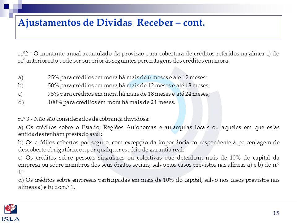 15 Ajustamentos de Dividas Receber – cont. n.º2 - O montante anual acumulado da provisão para cobertura de créditos referidos na alínea c) do n.º ante
