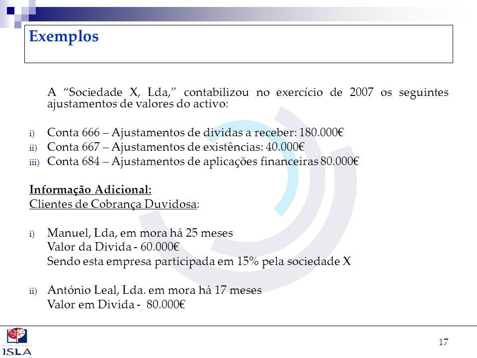 17 Exemplos A Sociedade X, Lda, contabilizou no exercício de 2007 os seguintes ajustamentos de valores do activo: i) Conta 666 – Ajustamentos de divid