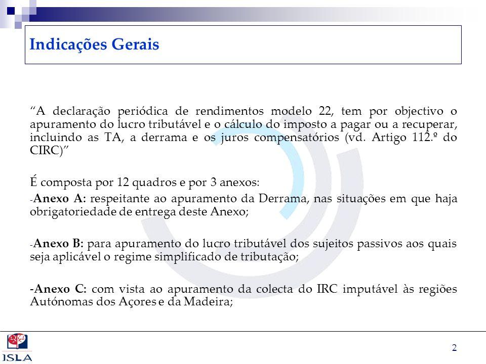 2 Indicações Gerais A declaração periódica de rendimentos modelo 22, tem por objectivo o apuramento do lucro tributável e o cálculo do imposto a pagar