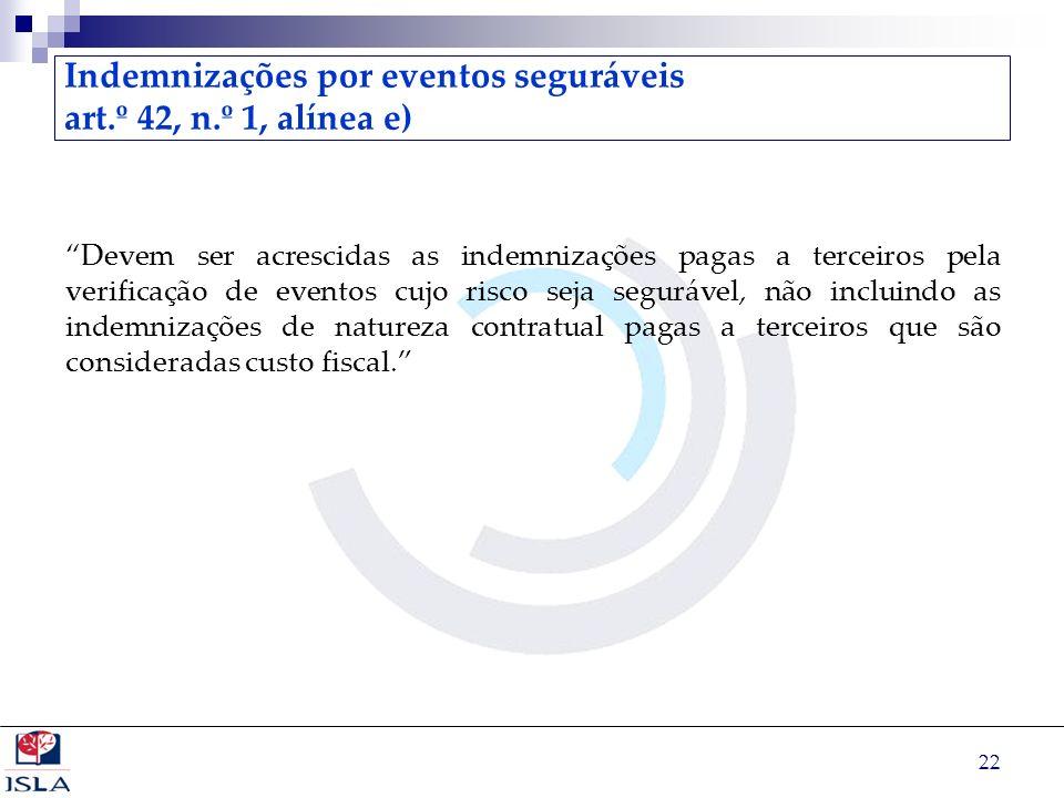 22 Indemnizações por eventos seguráveis art.º 42, n.º 1, alínea e) Devem ser acrescidas as indemnizações pagas a terceiros pela verificação de eventos
