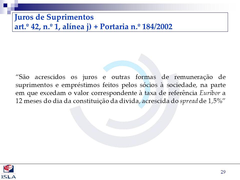 29 Juros de Suprimentos art.º 42, n.º 1, alínea j) + Portaria n.º 184/2002 São acrescidos os juros e outras formas de remuneração de suprimentos e emp