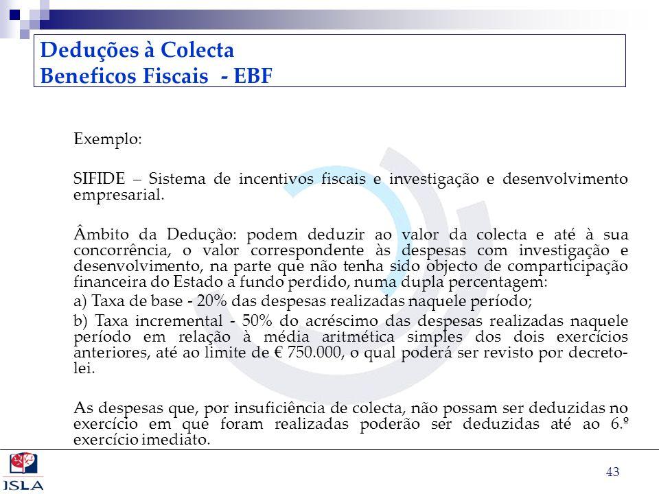 43 Deduções à Colecta Beneficos Fiscais - EBF Exemplo: SIFIDE – Sistema de incentivos fiscais e investigação e desenvolvimento empresarial. Âmbito da
