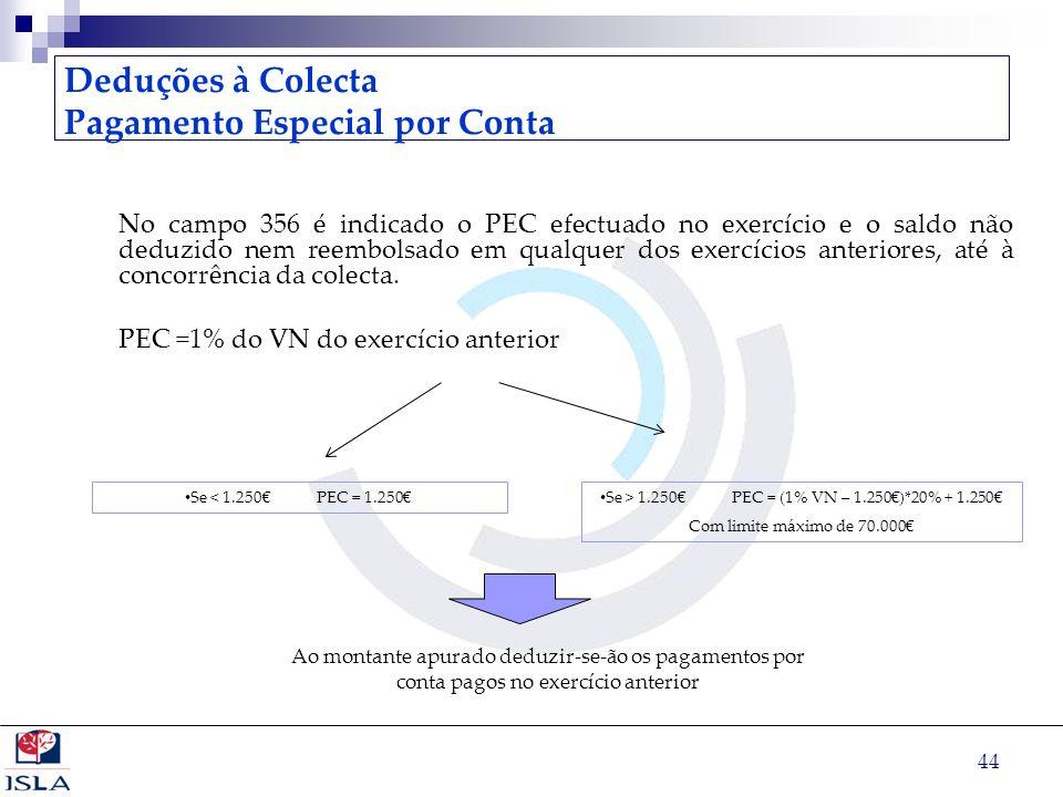 44 Deduções à Colecta Pagamento Especial por Conta No campo 356 é indicado o PEC efectuado no exercício e o saldo não deduzido nem reembolsado em qual