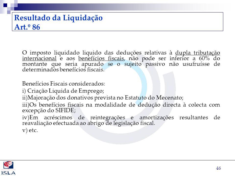 46 Resultado da Liquidação Art.º 86 O imposto liquidado liquido das deduções relativas à dupla tributação internacional e aos benefícios fiscais, não