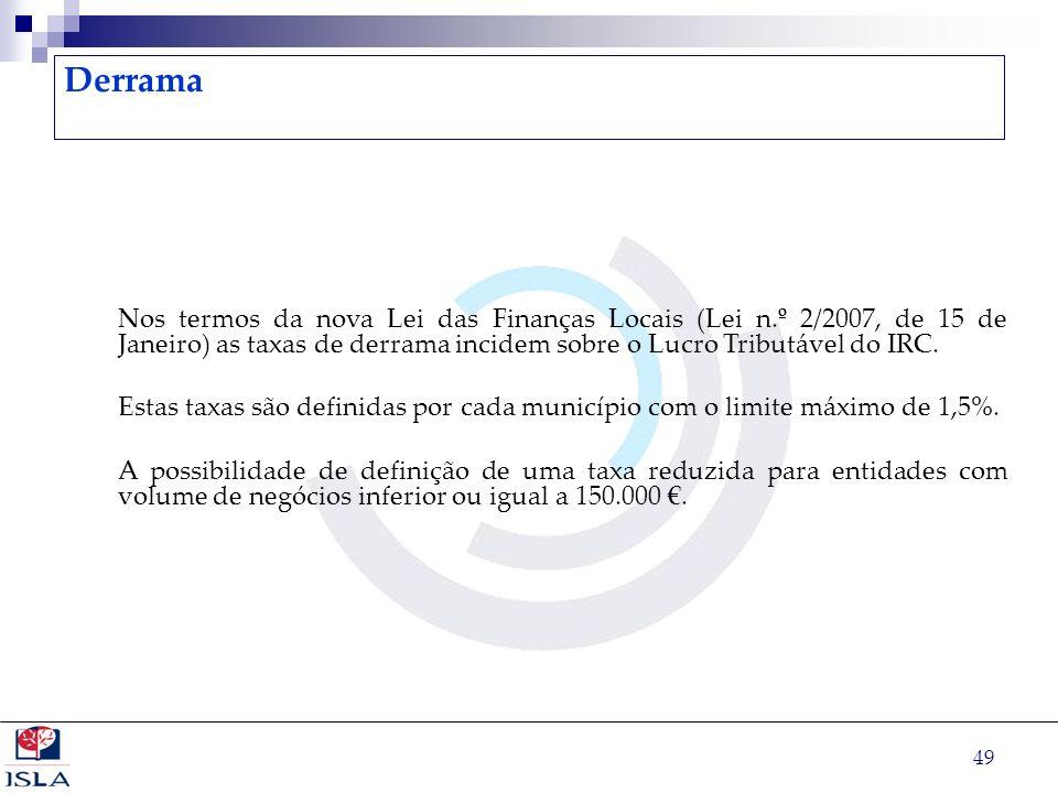 49 Derrama Nos termos da nova Lei das Finanças Locais (Lei n.º 2/2007, de 15 de Janeiro) as taxas de derrama incidem sobre o Lucro Tributável do IRC.