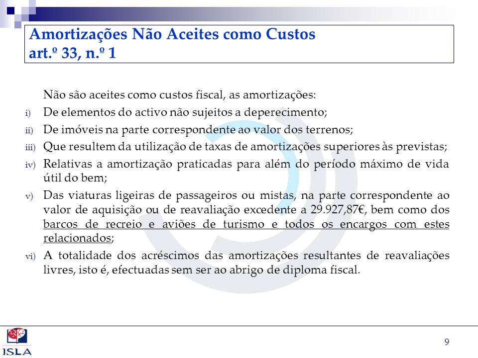 9 Amortizações Não Aceites como Custos art.º 33, n.º 1 Não são aceites como custos fiscal, as amortizações: i) De elementos do activo não sujeitos a d