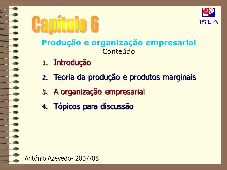 António Azevedo- 2007/08 Produção e organização empresarial Conteúdo 1. Introdução 2. Teoria da produção e produtos marginais 3. A organização empresa