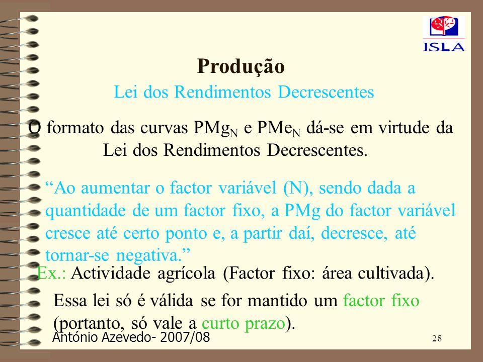 António Azevedo- 2007/08 28 Produção Lei dos Rendimentos Decrescentes O formato das curvas PMg N e PMe N dá-se em virtude da Lei dos Rendimentos Decre