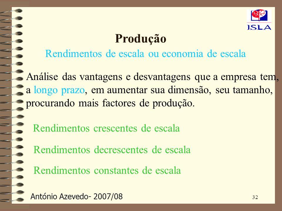 António Azevedo- 2007/08 32 Produção Rendimentos de escala ou economia de escala Análise das vantagens e desvantagens que a empresa tem, a longo prazo