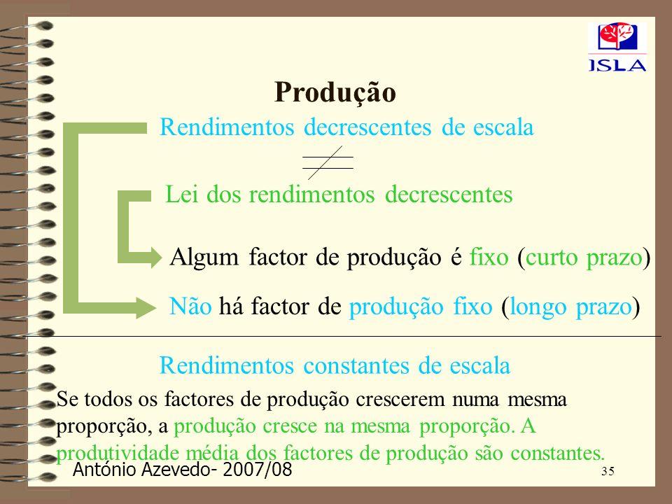 António Azevedo- 2007/08 35 Produção Rendimentos decrescentes de escala Lei dos rendimentos decrescentes Algum factor de produção é fixo (curto prazo)