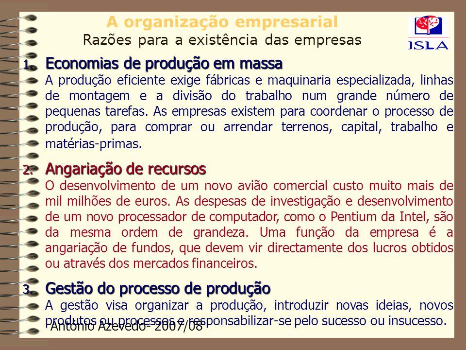 António Azevedo- 2007/08 A organização empresarial Razões para a existência das empresas 1. Economias de produção em massa A produção eficiente exige