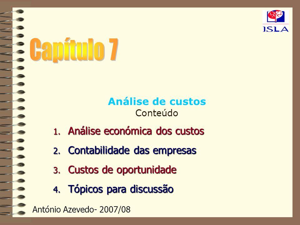 António Azevedo- 2007/08 Análise de custos Conteúdo 1. Análise económica dos custos 2. Contabilidade das empresas 3. Custos de oportunidade 4. Tópicos