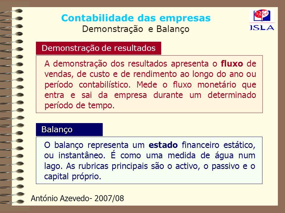 António Azevedo- 2007/08 Contabilidade das empresas Demonstração e Balanço Demonstração de resultados A demonstração dos resultados apresenta o fluxo