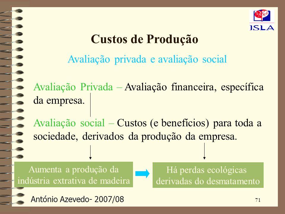 António Azevedo- 2007/08 71 Custos de Produção Avaliação privada e avaliação social Avaliação Privada – Avaliação financeira, específica da empresa. A