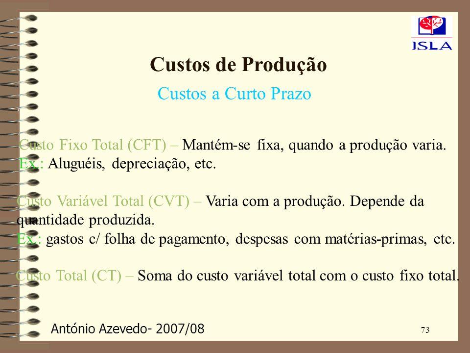 António Azevedo- 2007/08 73 Custos de Produção Custos a Curto Prazo Custo Fixo Total (CFT) – Mantém-se fixa, quando a produção varia. Ex.: Aluguéis, d