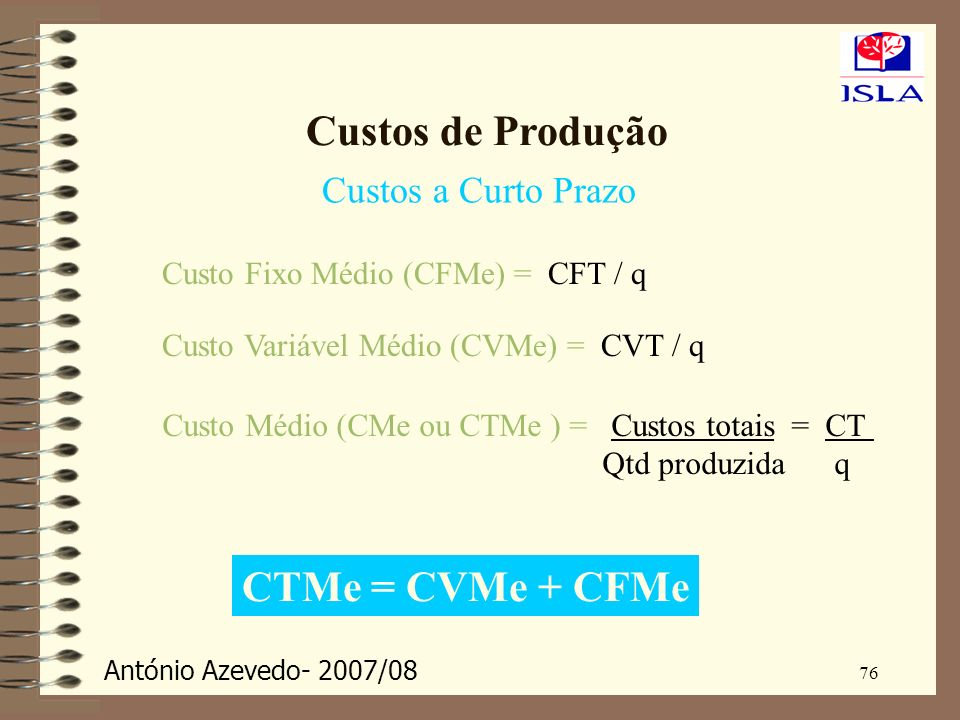 António Azevedo- 2007/08 76 Custos de Produção Custos a Curto Prazo Custo Fixo Médio (CFMe) = CFT / q Custo Variável Médio (CVMe) = CVT / q Custo Médi