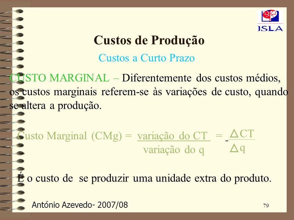 António Azevedo- 2007/08 79 Custos de Produção Custos a Curto Prazo CUSTO MARGINAL – Diferentemente dos custos médios, os custos marginais referem-se
