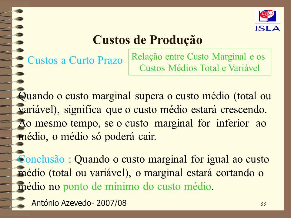 António Azevedo- 2007/08 83 Custos de Produção Custos a Curto Prazo Relação entre Custo Marginal e os Custos Médios Total e Variável Quando o custo ma