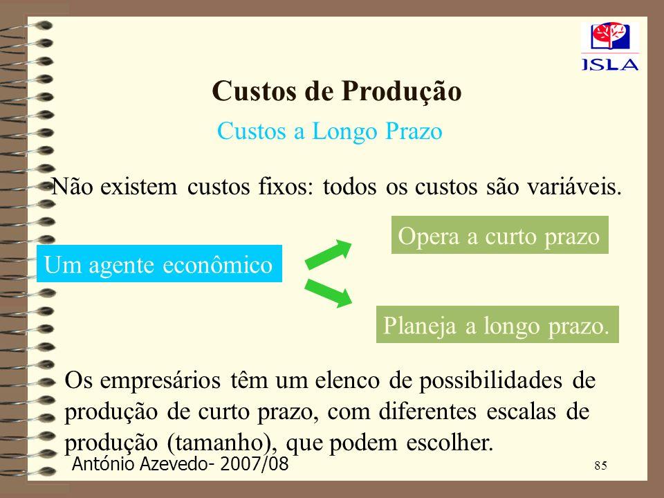 António Azevedo- 2007/08 85 Custos de Produção Custos a Longo Prazo Não existem custos fixos: todos os custos são variáveis. Planeja a longo prazo. Um