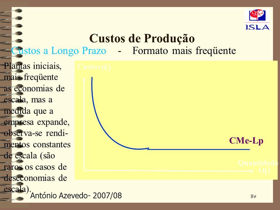 António Azevedo- 2007/08 89 Custos de Produção Custos a Longo Prazo () (q) Custos Quantidade CMe-Lp (q) Quantidade - Formato mais freqüente Plantas in