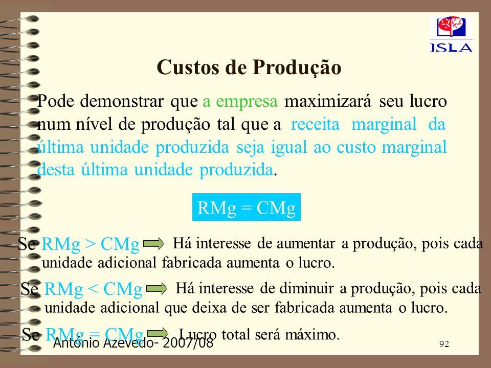 António Azevedo- 2007/08 92 Custos de Produção Pode demonstrar que a empresa maximizará seu lucro num nível de produção tal que a receita marginal da