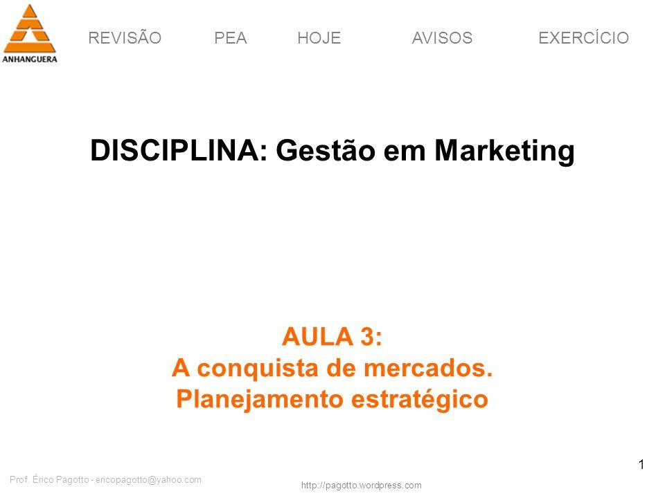 REVISÃOPEAHOJEEXERCÍCIOAVISOS http://pagotto.wordpress.com Prof. Érico Pagotto - ericopagotto@yahoo.com 1 DISCIPLINA: Gestão em Marketing AULA 3: A co