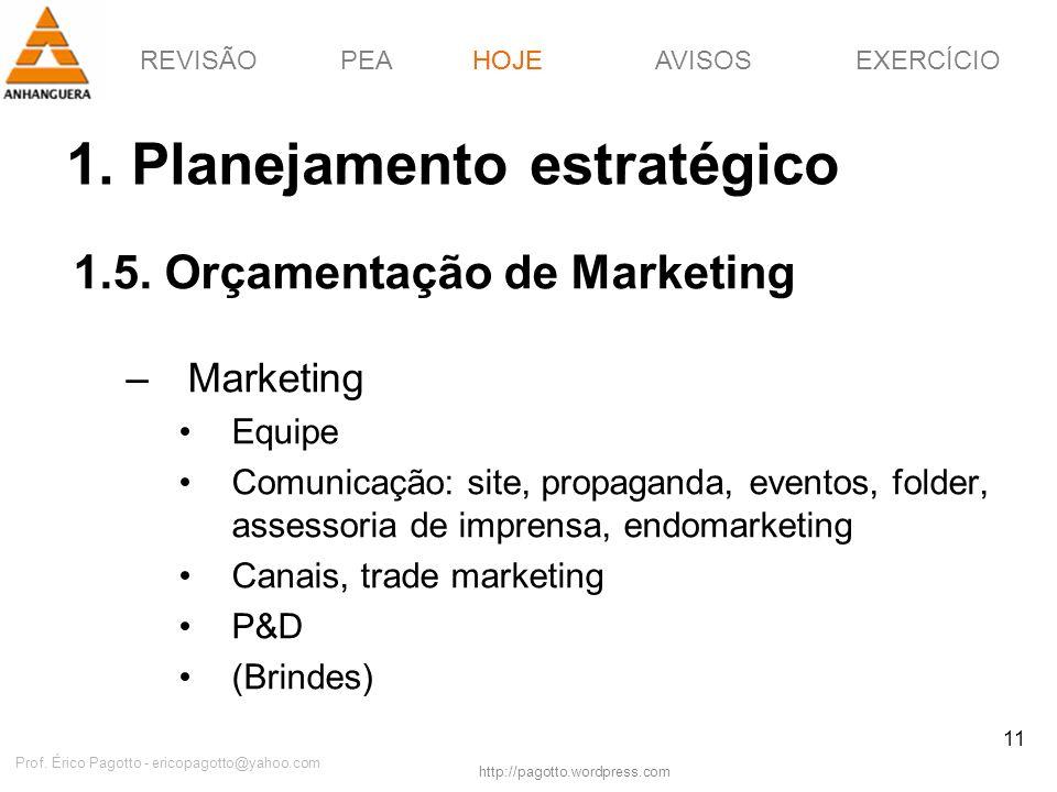 REVISÃOPEAHOJEEXERCÍCIOAVISOS http://pagotto.wordpress.com Prof. Érico Pagotto - ericopagotto@yahoo.com 11 1. Planejamento estratégico 1.5. Orçamentaç