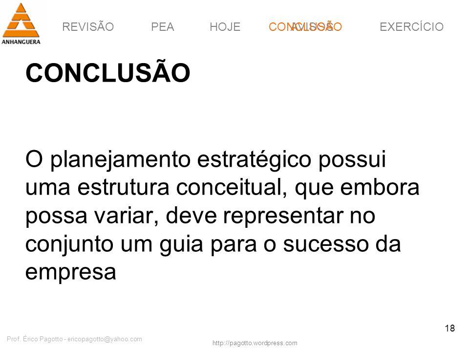 REVISÃOPEAHOJEEXERCÍCIOAVISOS http://pagotto.wordpress.com Prof. Érico Pagotto - ericopagotto@yahoo.com 18 CONCLUSÃO O planejamento estratégico possui