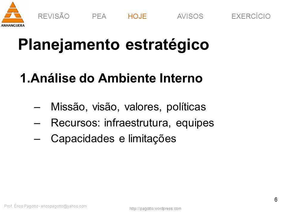 REVISÃOPEAHOJEEXERCÍCIOAVISOS http://pagotto.wordpress.com Prof. Érico Pagotto - ericopagotto@yahoo.com 6 Planejamento estratégico 1.Análise do Ambien