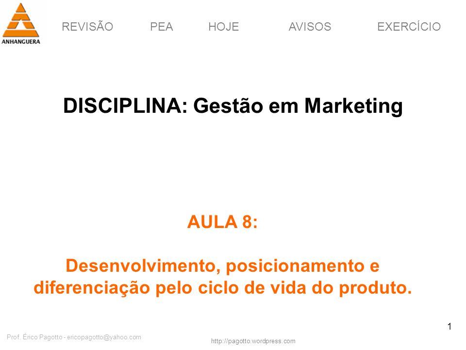 REVISÃOPEAHOJEEXERCÍCIOAVISOS http://pagotto.wordpress.com Prof. Érico Pagotto - ericopagotto@yahoo.com 1 DISCIPLINA: Gestão em Marketing AULA 8: Dese