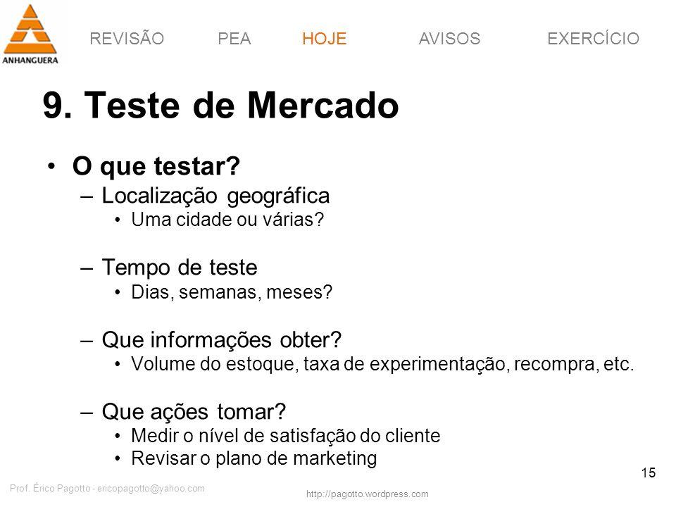 REVISÃOPEAHOJEEXERCÍCIOAVISOS http://pagotto.wordpress.com Prof. Érico Pagotto - ericopagotto@yahoo.com 15 9. Teste de Mercado HOJE O que testar? –Loc