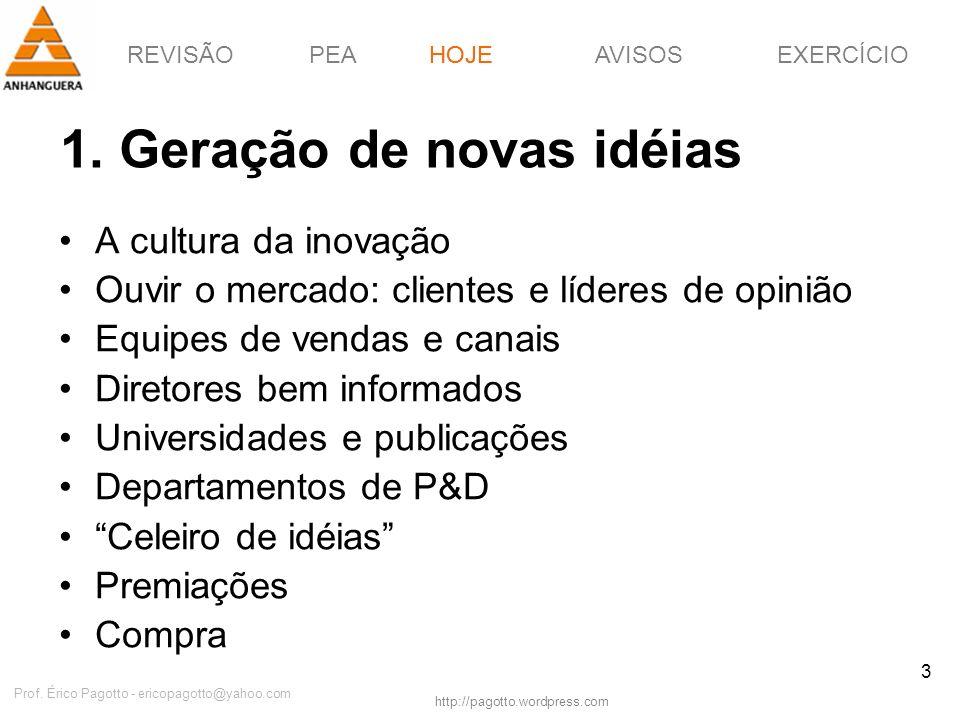 REVISÃOPEAHOJEEXERCÍCIOAVISOS http://pagotto.wordpress.com Prof. Érico Pagotto - ericopagotto@yahoo.com 3 1. Geração de novas idéias HOJE A cultura da