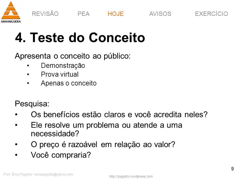 REVISÃOPEAHOJEEXERCÍCIOAVISOS http://pagotto.wordpress.com Prof. Érico Pagotto - ericopagotto@yahoo.com 9 4. Teste do Conceito HOJE Apresenta o concei