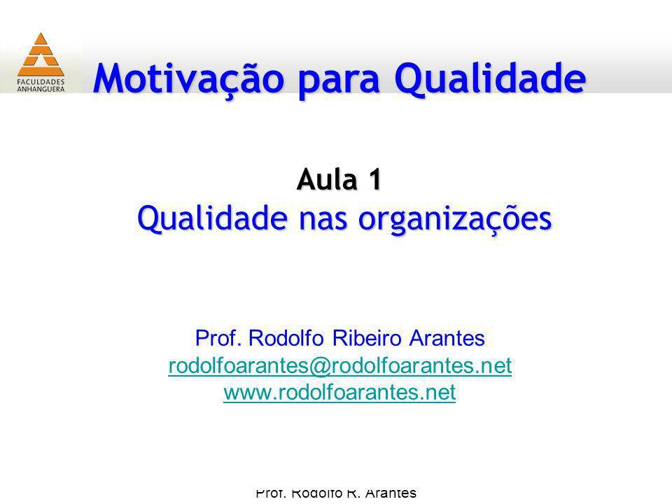 Motivação para Qualidade Prof. Rodolfo R. Arantes Prof. Rodolfo Ribeiro Arantes rodolfoarantes@rodolfoarantes.net www.rodolfoarantes.net Aula 1 Qualid