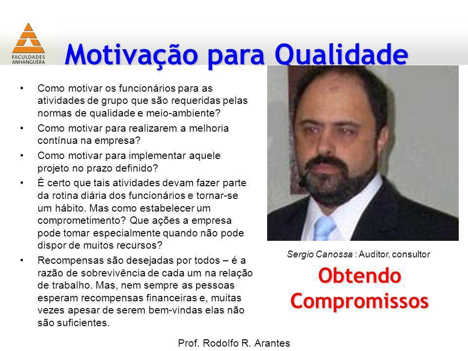 Motivação para Qualidade Prof. Rodolfo R. Arantes Obtendo Compromissos Como motivar os funcionários para as atividades de grupo que são requeridas pel