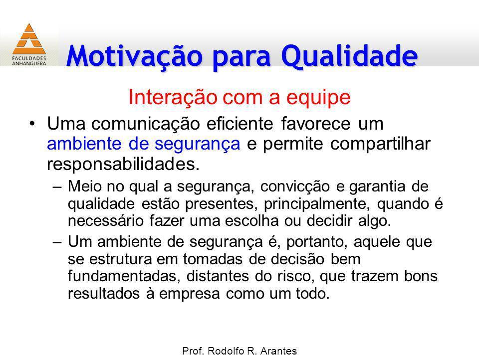 Motivação para Qualidade Prof. Rodolfo R. Arantes Interação com a equipe Uma comunicação eficiente favorece um ambiente de segurança e permite compart