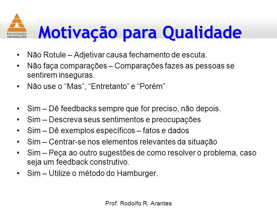 Motivação para Qualidade Prof. Rodolfo R. Arantes Não Rotule – Adjetivar causa fechamento de escuta. Não faça comparações – Comparações fazes as pesso